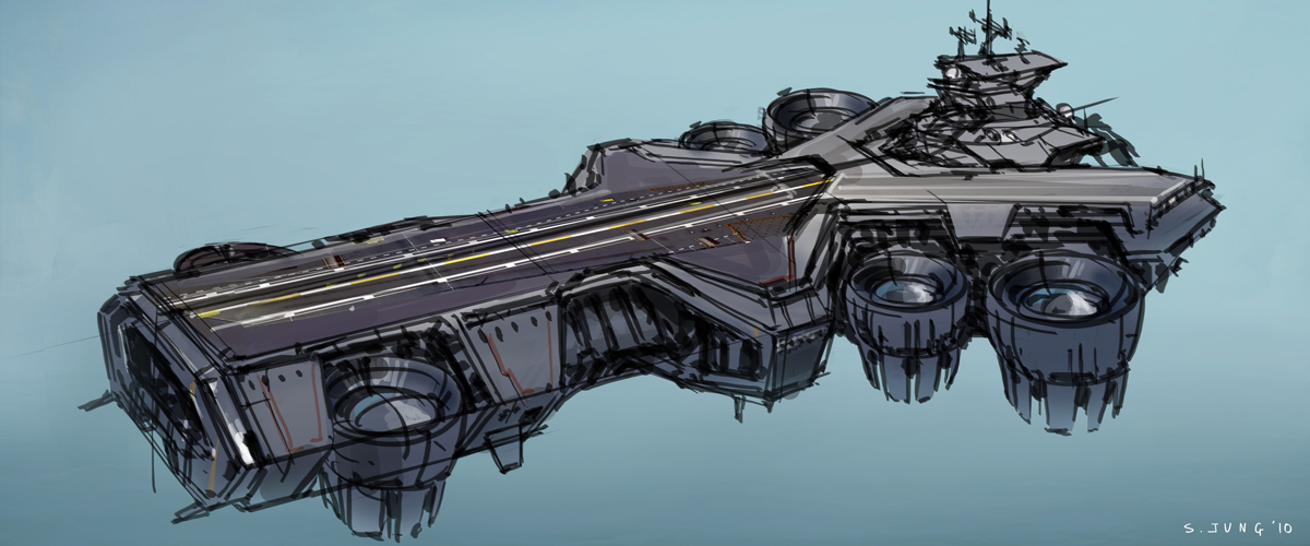 The Avengers Helicarrier Initial Sketches 3
