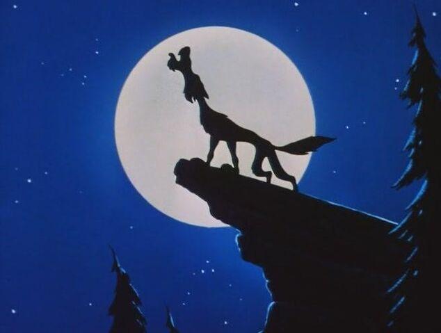 File:111 wolf howling on rock with moon Lambert the Sheepish Lion 1247016189 3 1951.jpg