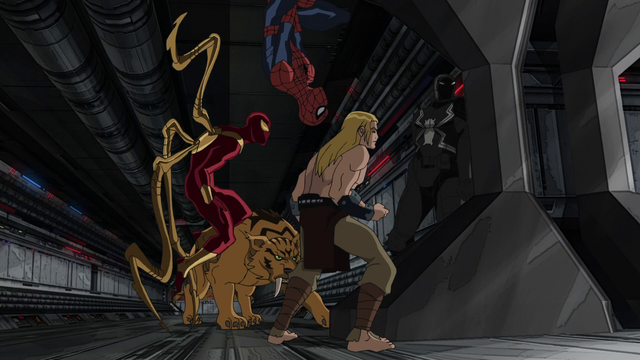 File:Spider-Man Ka-Zar Iron Spider Agent Venom Zabu USMWW.png