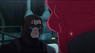 Bucky looks at Red Skull