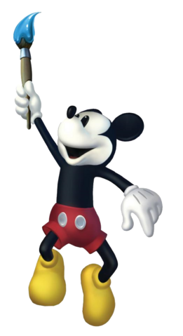 File:Mickey and the brush. Epic Mickey 2 art.png