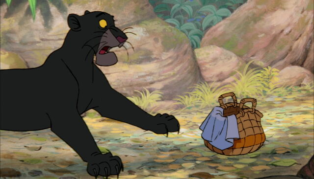 File:Bagheera The Black Panther is scared of little baby Mowgli's crying.jpg