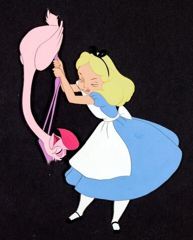 File:Alice Flamingo Croquet Production Cel.jpg