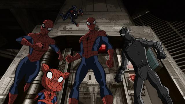 File:Spider-Man Spider-Girl Spider-Ham Miles Morales Spider-Man Noir USMWW.png