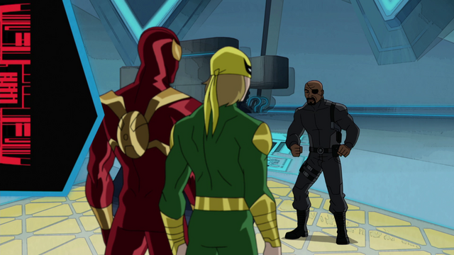 File:Ultimate Iron Fist Iron Spider Nick Fury USMWW.png