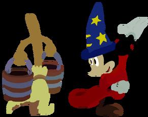 Sorcerer Mickey and Broom Toystoryfan artwork