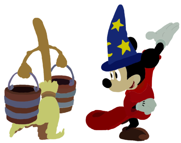 File:Sorcerer Mickey and Broom Toystoryfan artwork.png