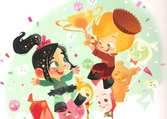 File:Vanellope and Rancis in One Sweet Race.jpg