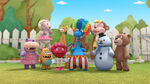 Toys laugh at stuffy the clown