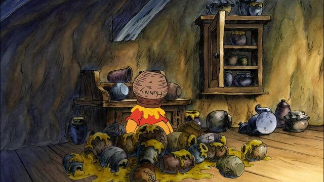 File:Winnie the Pooh has his honey pot stuck on his head.jpg
