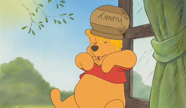 File:Winnie the Pooh has a honeypot on his head.jpg