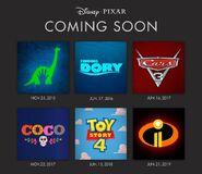 Disney Pixar 2015 - 2019 Releases