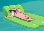 Rufus on floatie