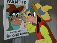 Goofy drawing a mustache on Pete's wanted sign
