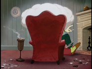 Goofy with a cigarette in an armchair
