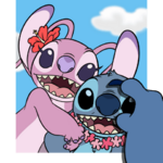 Angel and Stitch smartphone smile