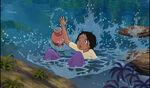 Shanti fell in the stream