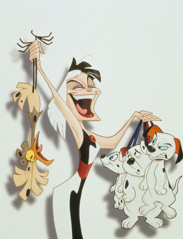 File:Cruella with Spot,Lucky, Cadpig and Rolly.jpg
