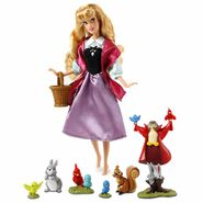 Aurora as Briar Rose Deluxe Singing Doll with Forest Animals Figures