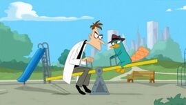 Doof and Perry on a Seesaw