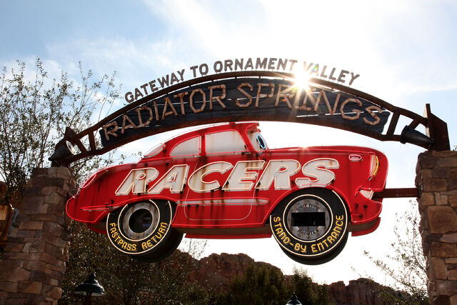 File:Radiator Springs Racers entrance.jpg