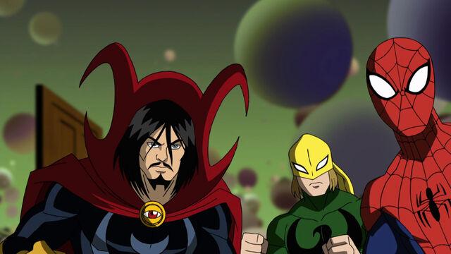 File:Spiderman - Iron Fist - Doctor Strange -Ultimate Spiderman-.jpg