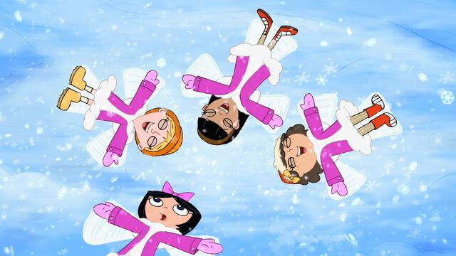 File:Fireside Girls making snow angels.JPG
