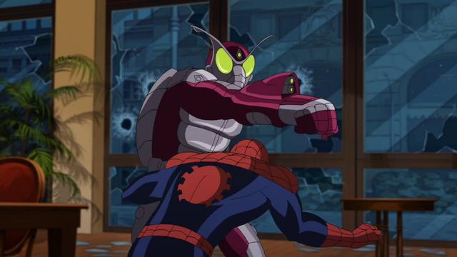 File:Beetle attacking Spider-Man USM 1.png