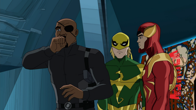 File:Nick Fury Ultimate Iron Fist Iron Spider USMWW.png