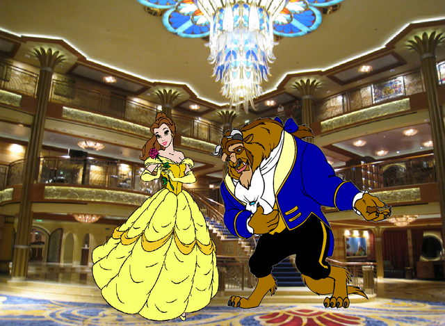 File:Belle and Beast join Disney Cruise Line Lobby.PNG