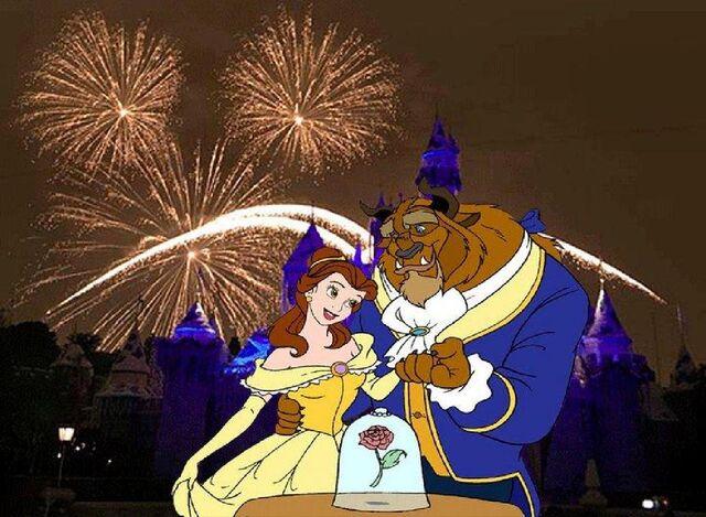 File:Belle and Beast is so Happy in Fireworks at Disneyland.JPG