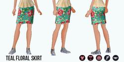 Spring - Teal Floral Skirt