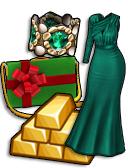 GoldDeal - 161206 - Gift Box Purse - Emerald Bracelet - Balsam Gown