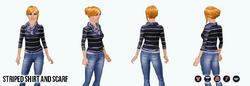 BlackAndWhite - Striped Shirt and Scarf