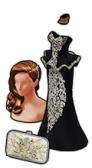 GoldDeal - 160221 - Gala Hair - Crystal Flower Clutch - Princess Peplum Gown