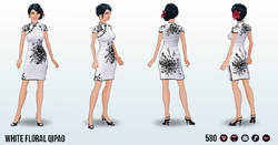 CafeRaffle - White Floral Qipao