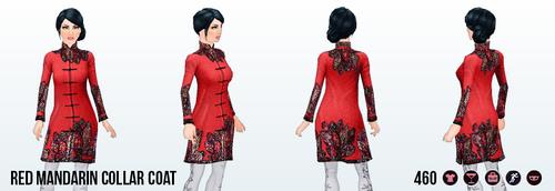 MoonFestival - Red Mandarin Collar Coat