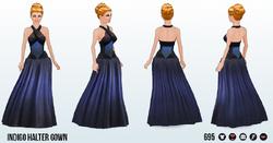 Broadway - Indigo Halter Gown