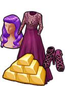 GoldDeal - 150607 - Plum Elegance Wig - Sandals - Gown