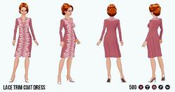 EnglishRoseSpin - Lace Trim Coat Dress red