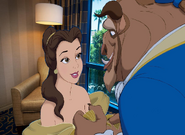 Belle is smile happily at the Beast in the Disneyland Hotel Room