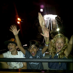 Peyton, Cameron and Karan on a ride!