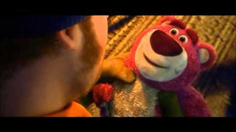 Toy Story 3-Lotso gets picked up by a garbage man
