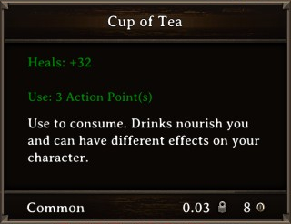 DOS Items Food Cup of Tea Stats