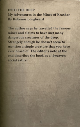 DOS Items Books Into the Deep Page