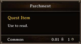 DOS Items Quest Parchment Orc Stats