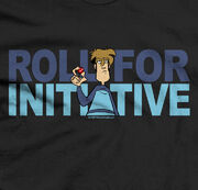 "Tycho stares forward grimly, holding a twenty-sided die. Background text reads ""Roll for initiative""."