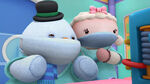 Lambie and chilly in their operating outfits