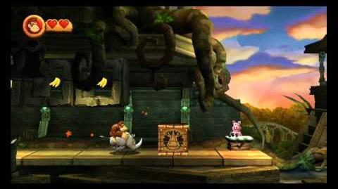 Donkey Kong Country Returns ~ World 3-6 (Temple Topple) Puzzle Piece K-O-N-G Letters Guide