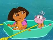 Dora and boots rowing